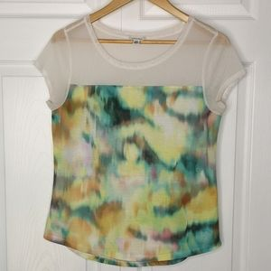 Calvin Klein Watercolour & Mesh Tee T-shirt Top